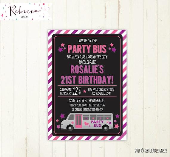 party bus invitation bus birthday bridal bus bridal shower, party invitations