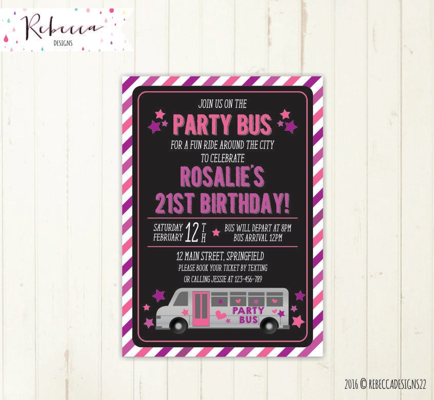 Party Bus Invitation Bus Birthday Bridal Bus Bridal Shower