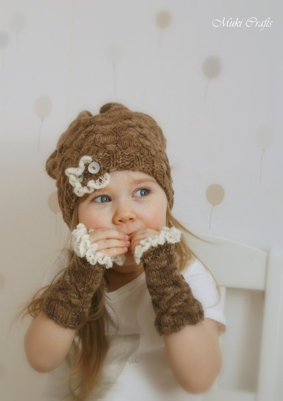 KNITTING PATTERN hat and fingerless gloves set with ruffles Loise (baby/toddler/child/adult sizes)