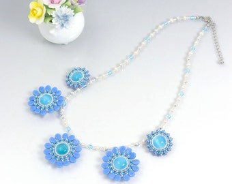 Blue wedding necklace, blue flower, blue statement necklace, freshwater pearl necklace, gift for her, 388-1-5