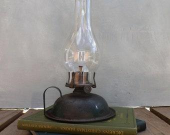 Vintage Oil Lamp 1920's Antique Tin Oil Lamp Rustic Primitive