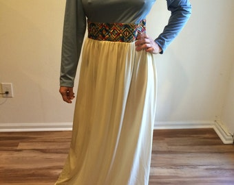 Maxi DRESS - Vintage 1970's 70's  Designer Kay WINDSOR Knit Maxi Dress