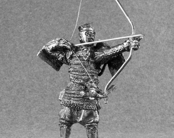 Handmade Toy Soldier Japanese Samurai Medieval 1/32 Scale Archer Sculpture 54mm Pewter Metal Miniature Figurine Statuette