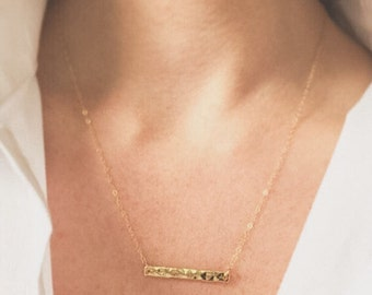 Simple Bar Necklace Hammered Bar Necklace Horizontal Bar Necklace Gold Bar Necklace Minimalist Necklace Everyday Necklace Layering Necklace