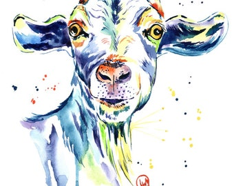 Farm art, goat art, goat print, country decor, country style, farm decor, modern country, goat watercolour, goat watercolor, farm animal