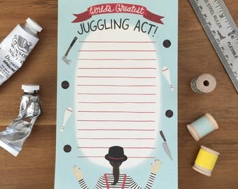 "Juggling Act Notepad - ""World's Greatest Juggling Act"" = ID: NP100"