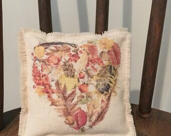 Set of 2 sachets, Sachet Pillows, Table Sachet, Great Gift for Mom, Teacher, Friend, Fall foliage heart sachet
