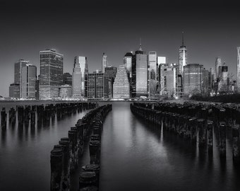 New York Piers, New York City Skyline, Manhattan, Empire State Building, Brooklyn, Black and White - Travel Photography, Print, Wall Art