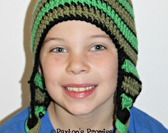 Crochet Beanie Pattern, Emory's Crochet Hat, PERMISSION TO SELL Finished Items, Tri-color, Crochet, Earflap, Pom Pom, Beanie, Stripes,