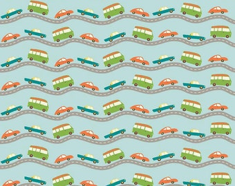 Car Fabric, Boys Quilt Fabric, Riley Blake Wheels 2 C5042 Blue, Deena Rutter, Cars on the Road, Cotton Fabric for Boys