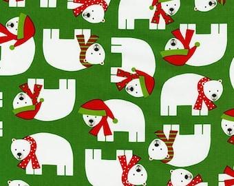 Polar Bear Fabric, Jingle 3 AAK 15267-7 Green, Robert Kaufman, Ann Kelle, Christmas Fabric, Polar Bear Quilt Fabric, Christmas Cotton