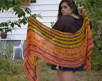 Hand Knit Scarf - Wrap Me in Sunset