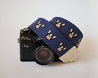 French bulldog camera strap, dog camera strap, SLR DSLR camera strap, gift for him, canon camera strap, Navy