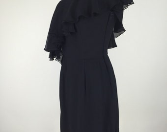 1960s Vintage Saks Fifth Avenue Black Off the Shoulder Dress