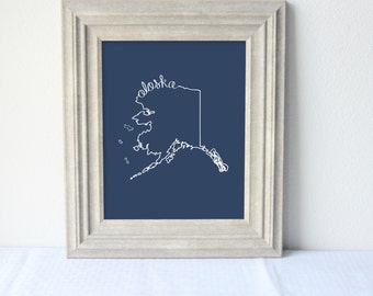 Printable Alaska State Art Print 8x10 Digital Wall Art Gift