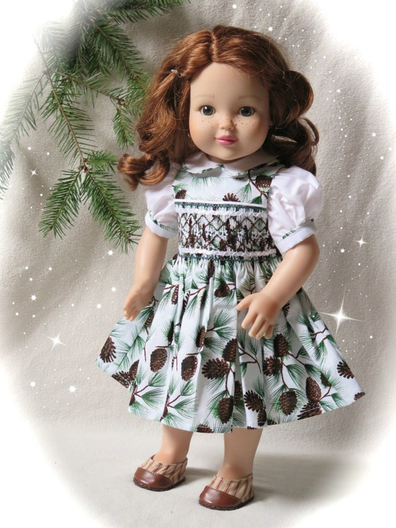 18 Inch Doll Smocked Christmas Dress Brown Amp Green Holiday