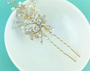 Swarovski crystal freshwater pearl gold wedding hair pin, gold hair pin, pearl rhinestone hairpin, bridal hair pearl, hairpin 455693948
