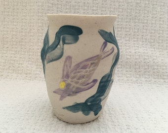 Hand Thrown Pottery Vase Urn, Ocean Motif, Hand Painted, Incised Fish, Fishers Island Pottery, Beach Decor, Fishers Island, 1995