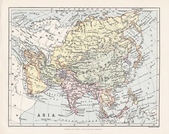 1897 Asia original vintage political map cartography old map antique 8x9.5 inches