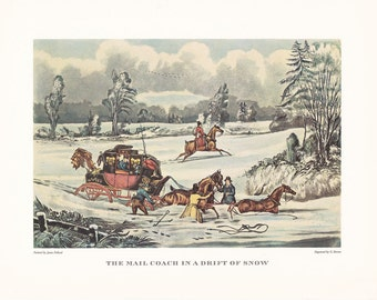 Carriage driving Mail Coach in drift of snow british travel horse drawn winter vintage print illustration home office décor 9.5 x 7 inches