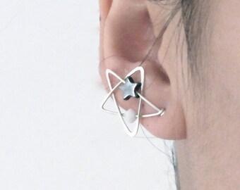 Star Earrings | Star Ear Climbers | Sterling Silver Star Earrings | Wire Wrap Earrings | Handmade Earrings | Celestial Earrings | White