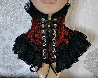 READY  TO SHIP! Victorian neck-corset - Vampire neck-corset - Neck-corset with lace - Neck-corset with blood - Red neck-corset
