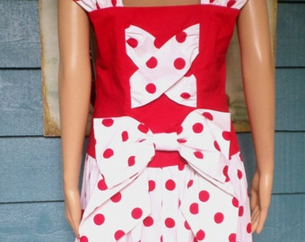Vintage 80's NOS W/Tags Melissa Harper Sample Red/White Cotton Polka Dot Heidi Dress W/ Bows Little Bo Peep Costume/Betty Boop Costume