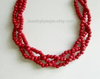 Rustic Red Statement Necklace, Red Wedding Jewelry, Red Bridesmaid Jewelry, Red Multi Strand Necklace, Chunky Choker Bib