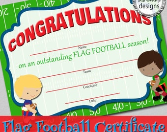 Flag Football Certificate - Instant Download!