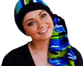 Carlee Pre-Tied Head Scarf, Women's Cancer Headwear, Chemo Scarf, Alopecia Hat, Head Wrap, Head Cover for Hair Loss - Blue Waves