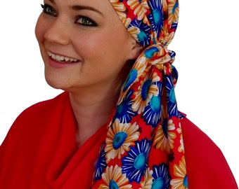 Jessica Pre-Tied Head Scarf, Women's Cancer Headwear, Chemo Scarf, Alopecia Hat, Head Wrap, Head Cover for Hair Loss - Happy Sunflowers