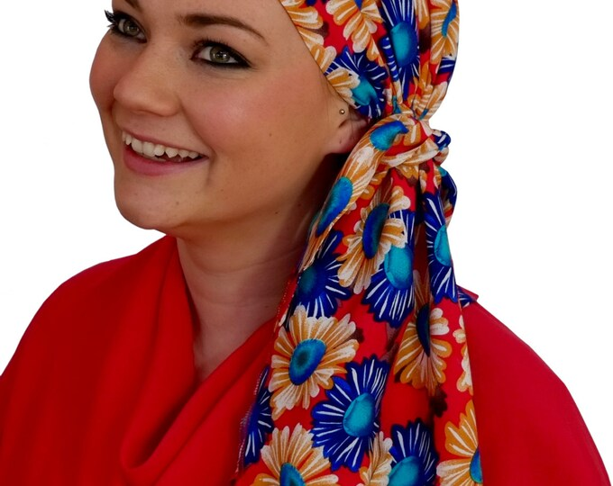 Featured listing image: Jessica Pre-Tied Head Scarf, Women's Cancer Headwear, Chemo Scarf, Alopecia Hat, Head Wrap, Head Cover for Hair Loss - Happy Sunflowers