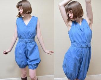 20s Rare Cotton Romper Playsuit // Beach Pajamas Jumpsuit Gym Uniform // M
