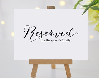 Reserved Table Sign, Reserved Wedding Sign Printable, Wedding Printable, Wedding Reception Sign, Editable PDF Template #KKD119_21