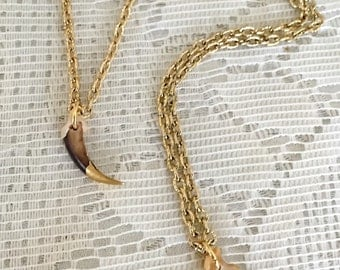 Fox Claw necklace with gold leaf tip