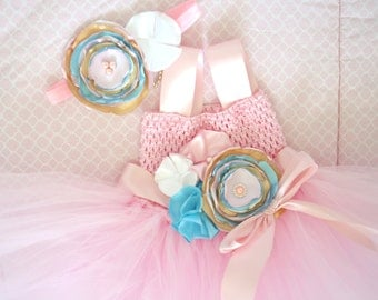 Beautiful Pink Aqua White Satin Flower Couture Tutu Dress for Baby Girl 1-2 years old First Birthday Second Birthday