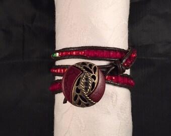 Red, Yellow, Green Triple Wrap Bracelet