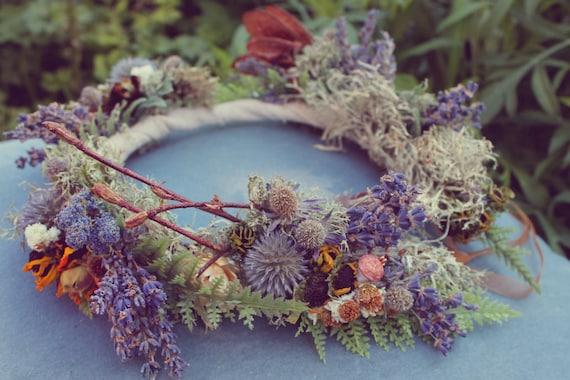 custom bridal crown, dried flower crown, lavender bridal crown, woodland bridal crown, blue flower crown, fern bridal crown, lavender crown