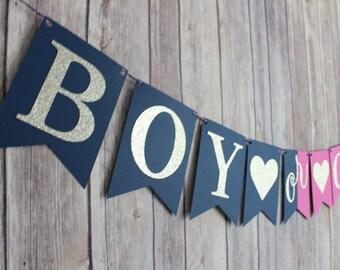 Boy or Girl Gender Reveal Baby Shower Banner, Baby Shower Decorations