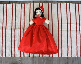 3-in-1 Handmade Flippable Little Red Riding Hood / Big Bad Wolf / Grandmother Embroidered Vintage Doll