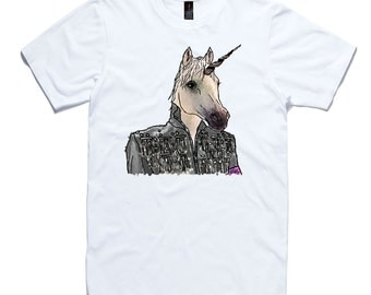 Unicorn T-Shirt by RockPaperHeart in white wild animal sketch art