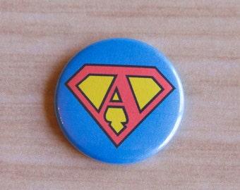 Badge Reel Superman Initial ID Badge Holder- Stethoscope Tag - Badge Reel ID badge Pull- Nurse Badge reel