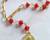 Chaplet - Red Chinese Crystal St Mary Magdalene Chaplet