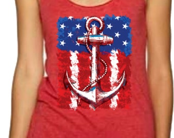 Nautical Anchor Tank/American Flag Gift/Anchor And Flag Summer Tank Top/Memorial Day/Fourth Of July Tank Top, Women's Racerback Tank Top