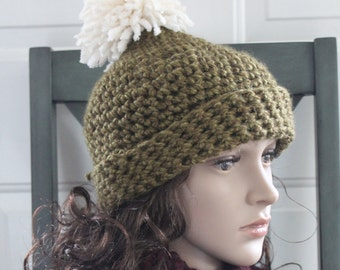 HANDMADE Crocheted Green Chunky Pom Pom Hat. Winter Hat. Women's Hat.