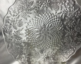 Clear Glass Plates, 4 - Flower design
