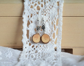 Natural wooden earrings, sterling silver and wood dangle earrings, unique wooden jewelry, gift for her made of wood, eco jewellery gift