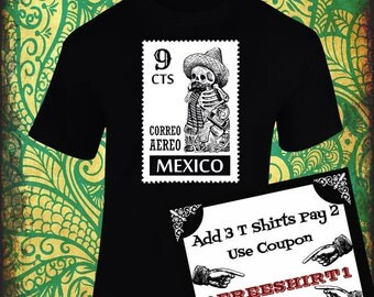 "Mexican Calavera (Skull/Skeleton) T Shirt!!! T Shirt Postage stamp and a ""Calavera""!!! Screen Printing designs!!!"