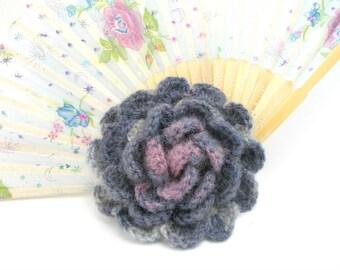 Crochet brooch, Handmade brooch, Crochet flower brooch, lapel pin, Multicolored brooch, gift for her, gray, pink, crochet jewelry