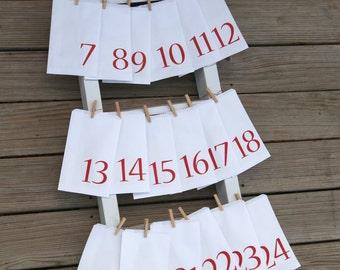 Advent Calendar Bags | Countdown to Christmas | White Paper Advent Bags | Advent Calendar Kit | Christmas Decor